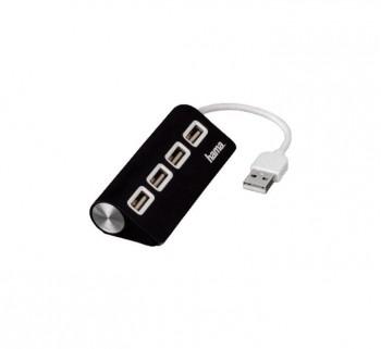 HUB 4 PUERTOS HAMA USB 2.0 NEGRO