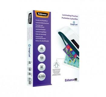 PAQ. 100 FUNDAS PLASTIF. FELLOWES 80MIC A5 5306002