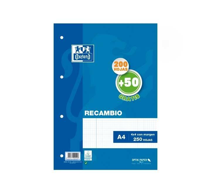 RECAMBIO OXFORD A4 200+50H 90GR T.BLANDA 4X4 AZUL