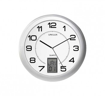 RELOJ PARED UNILUX INSTINCT GRIS METALIZADO